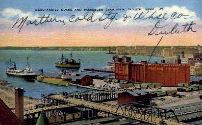 Merchandise Docks & Passenger Terminals - Duluth, Minnesota MN Postcard