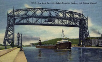 Ore Boat, Duluth-Superior Harbor - Minnesota MN Postcard