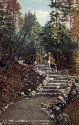 Rustic Bridge in Condon Park - Duluth, Minnesota MN Postcard