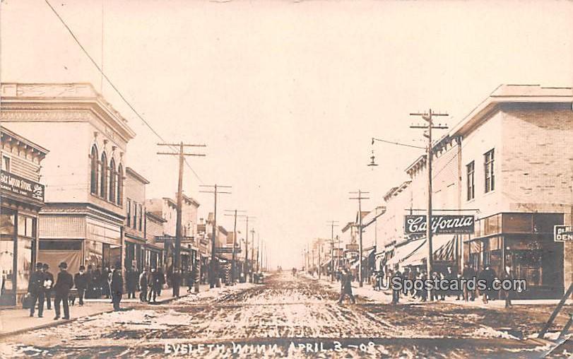 Street Scene April 3, 1908 - Eveleth, Minnesota MN Postcard
