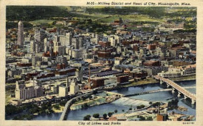 Milling District and Heart of City - Minneapolis, Minnesota MN Postcard