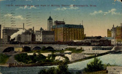 Anthony Falls and Part of Milling District - Minneapolis, Minnesota MN Postcard