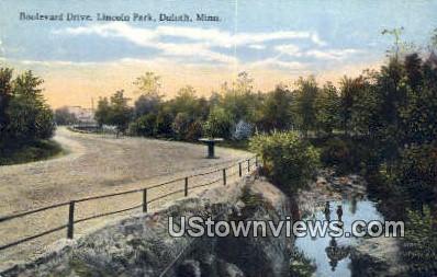 Boulevard Drive, Lincoln Park - Duluth, Minnesota MN Postcard