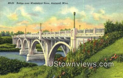Bridge over Mississippi River - Brainerd, Minnesota MN Postcard