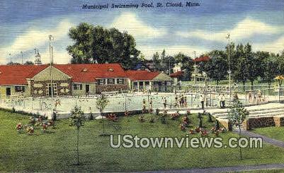 Municipal Swimming Pool - St. Cloud, Minnesota MN Postcard
