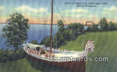 Replica of Leif Erikson's Boat - Duluth, Minnesota MN Postcard