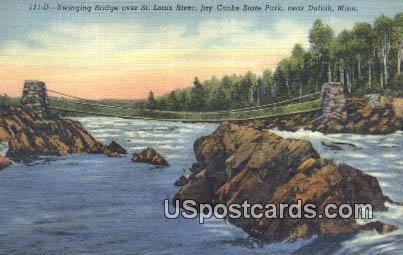 Swinging Bridge, St Louis River - Duluth, Minnesota MN Postcard