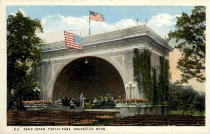 Band Stand, Public Park - Rochester, Minnesota MN Postcard