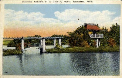 Japanese Gardens of a Country Home - Rochester, Minnesota MN Postcard