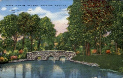 Bridge in Silver Lake Park - Rochester, Minnesota MN Postcard