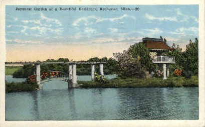 Japanese Garden of a Beautiful Residence - Rochester, Minnesota MN Postcard