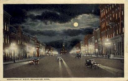 Broadway at Night - Rochester, Minnesota MN Postcard