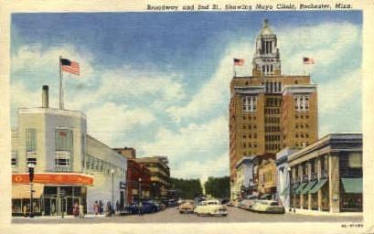 Broadway and 2nd St. - Rochester, Minnesota MN Postcard