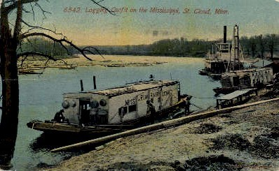 Logging Outfit on the Mississippi - St. Cloud, Minnesota MN Postcard