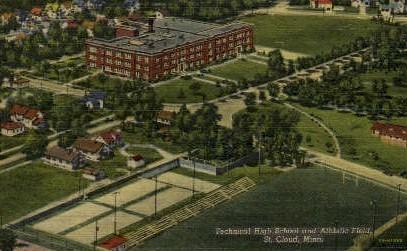 Technical High School and Athletic Field - St. Cloud, Minnesota MN Postcard