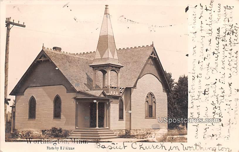 Baptist Church - Worthington, Minnesota MN Postcard