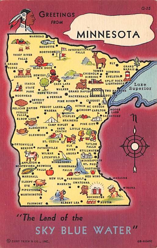 Minnesota State Map MN