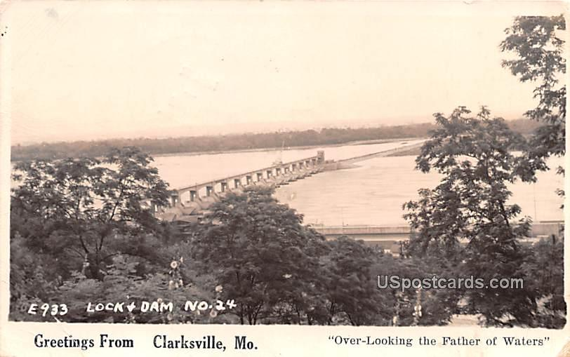 Lock and Dam - Clarksville, Missouri MO Postcard
