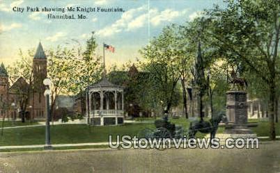 City Park, McKnight Fountain - Hannibal, Missouri MO Postcard