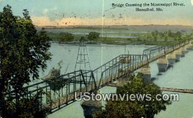 Bridge, Mississippi River - Hannibal, Missouri MO Postcard