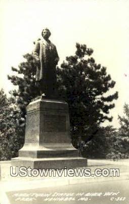 Real Photo - Mark Twain Statue, Riverview Park - Hannibal, Missouri MO Postcard