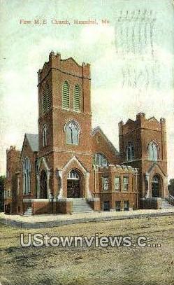 First ME Church - Hannibal, Missouri MO Postcard