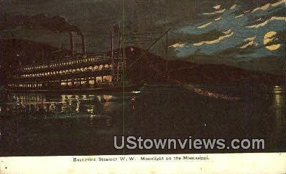 Excursion Steamer W.W.  - Hannibal, Missouri MO Postcard