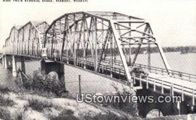 Mark Twain Memorial Bridge - Hannibal, Missouri MO Postcard