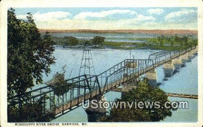 Mississippi River Bridge - Hannibal, Missouri MO Postcard