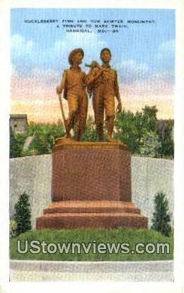 Huckleberry Finn & Tom Sawyer Monument - Hannibal, Missouri MO Postcard