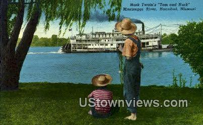 Mark Twain's Tom & Huck - Hannibal, Missouri MO Postcard