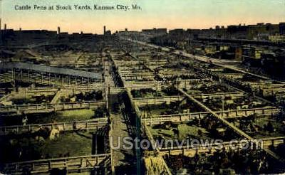 Cattle Pens at Stock Yards - Kansas City, Missouri MO Postcard
