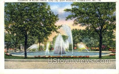 Fountain In Meyer Circle - Kansas City, Missouri MO Postcard