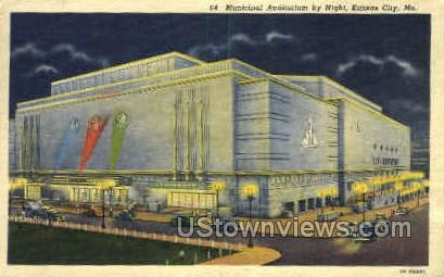 Night Municipal Auditorium - Kansas City, Missouri MO Postcard