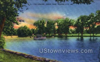 The Lagoon of Swope Park - Kansas City, Missouri MO Postcard