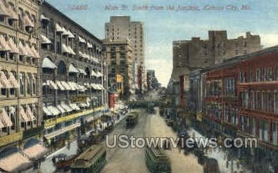 Main Street - Kansas City, Missouri MO Postcard
