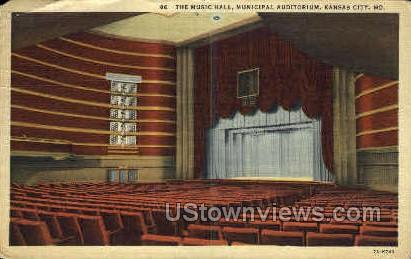 Music Hall, Municipal Auditorium - Kansas City, Missouri MO Postcard