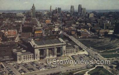 Union Station and Sky Line - Kansas City, Missouri MO Postcard