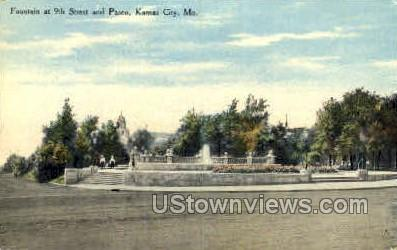 Fountain at 9th and Paseo - Kansas City, Missouri MO Postcard