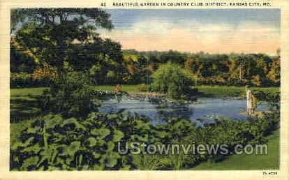 Garden in Country Club District - Kansas City, Missouri MO Postcard