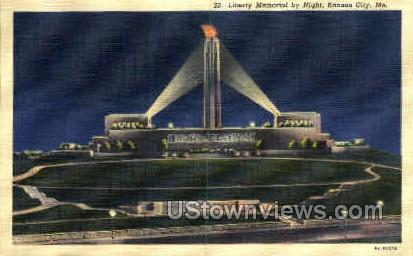Night- Liberty Memorial - Kansas City, Missouri MO Postcard