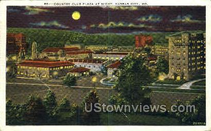 Night- Country Club Plaza - Kansas City, Missouri MO Postcard