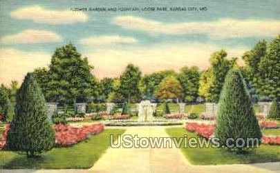 Flower Garden and Fountain - Kansas City, Missouri MO Postcard