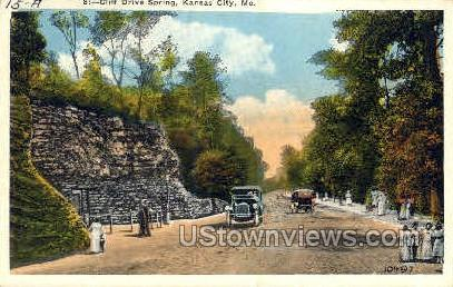 Cliff Drive Spring - Kansas City, Missouri MO Postcard