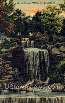 Waterfall, Forest Park - St. Louis, Missouri MO Postcard