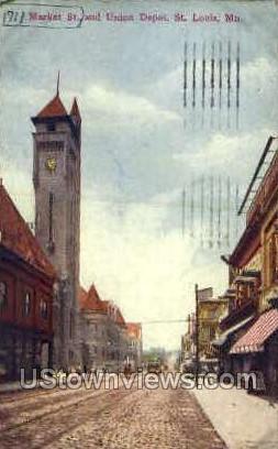 Market St. and Union Depot - St. Louis, Missouri MO Postcard