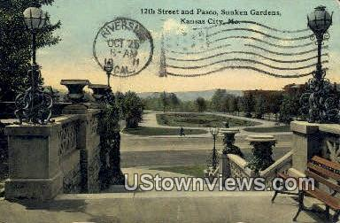 12th St, Paseo, Sunken Gardens - Kansas City, Missouri MO Postcard