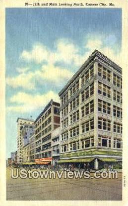 12th & Main Street - Kansas City, Missouri MO Postcard