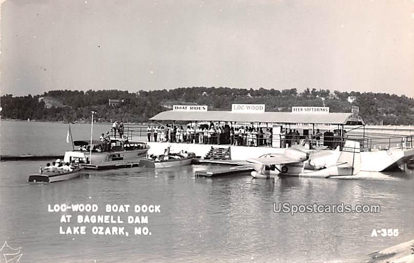 Loc Wood Boat Dock - Lake Ozark, Missouri MO Postcard