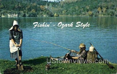 Fishin' - Ozark Style - Lake of the Ozarks, Missouri MO Postcard